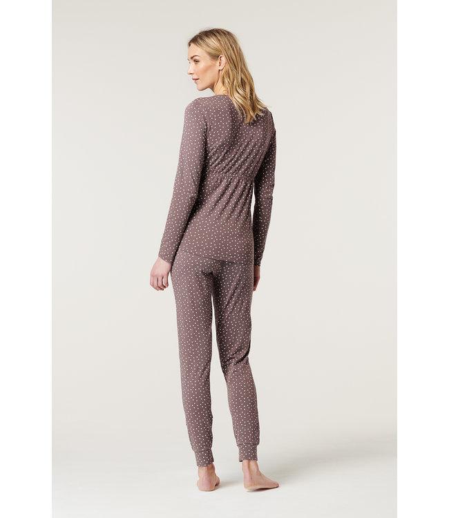 ESPRIT Pantalon de pyjama - grossesse / allaitement - étoiles - taupe - bio