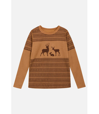 Hust and Claire Abba - chemise à manches longues - cerf - laine / bambou - ocre