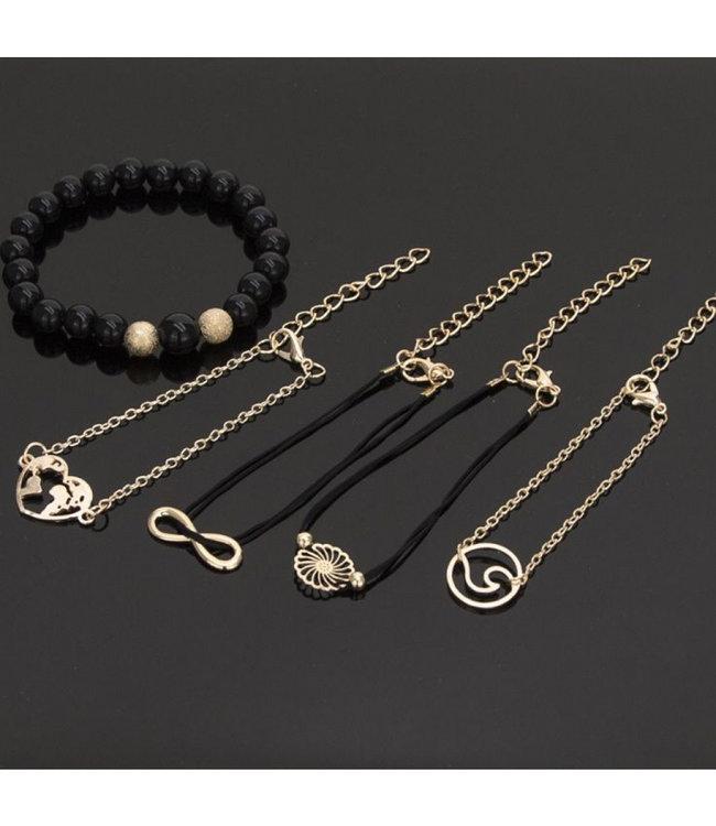 ECARLA Set of 4 in 1 bracelets