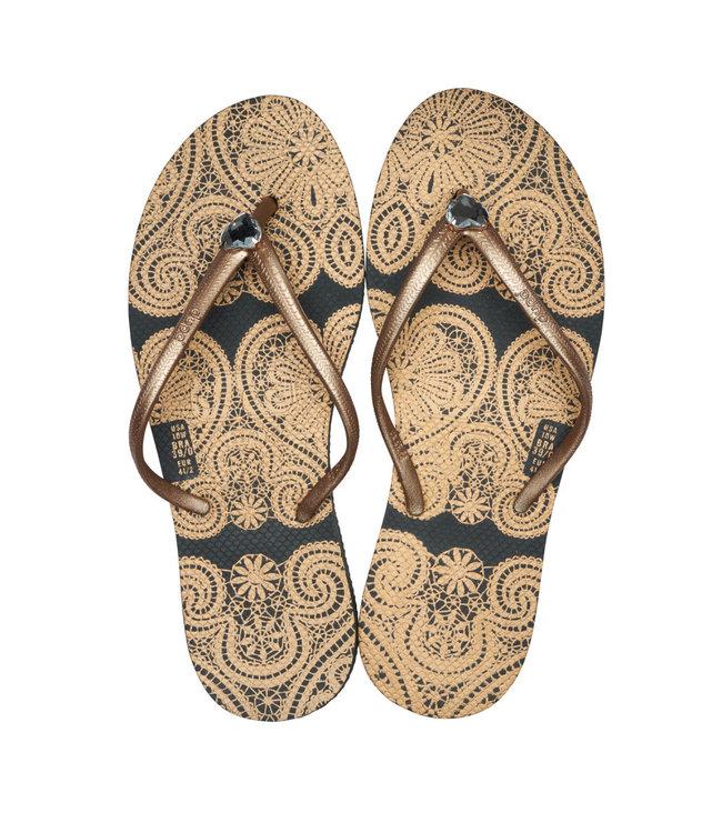Dupe Brasil Flip flops gold-black