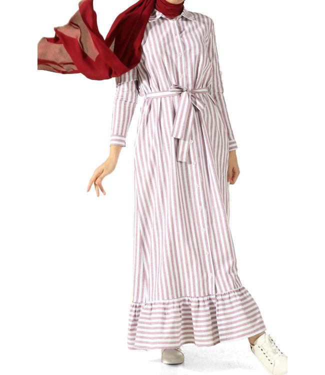 ALLDAY Strepen jurk - Bordo