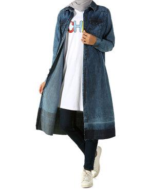 ALLDAY Long denim tunic - Dark blue