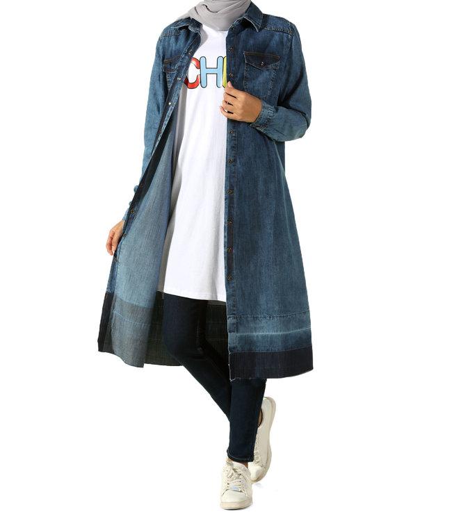 ALLDAY Lange denim tuniek - donker blauw