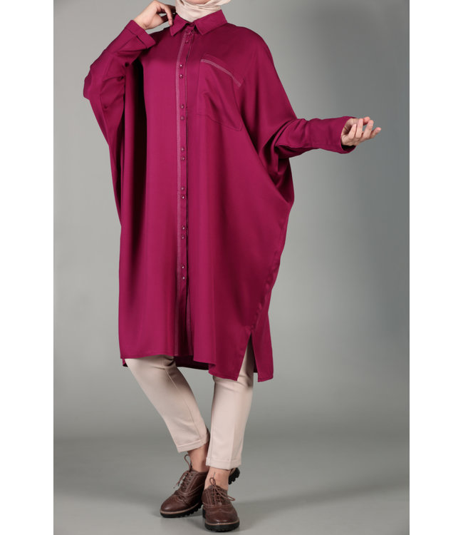 ALLDAY Tunic with batwing sleeves - Cherry