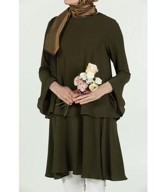 ALLDAY Tunic with volant sleeves - Khaki