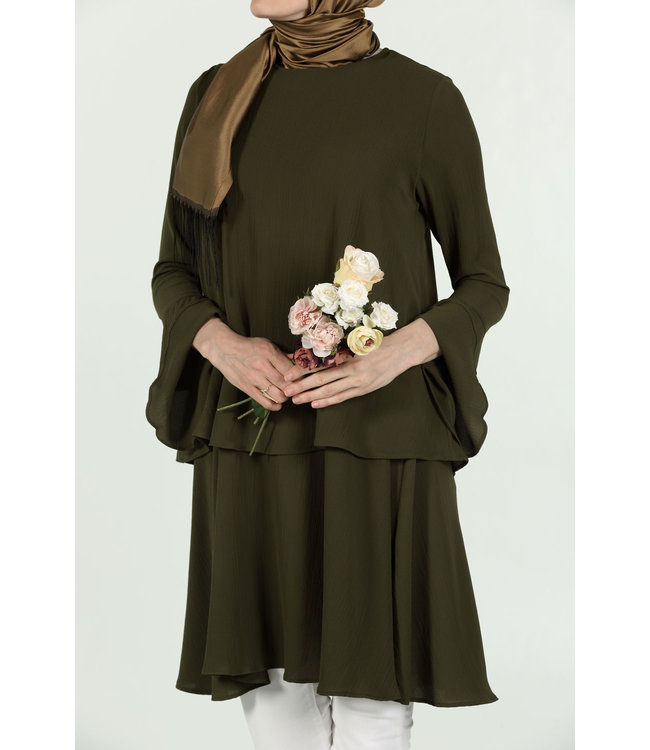 ALLDAY Tunic with volant sleeves - Khaki
