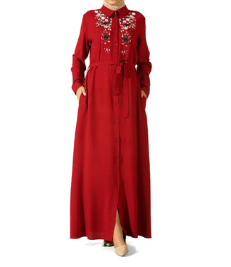 ALLDAY Long dress with embroidery