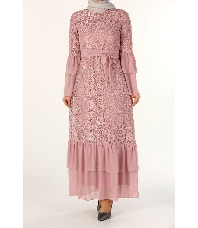 ALLDAY Kanten  jurk - Roze