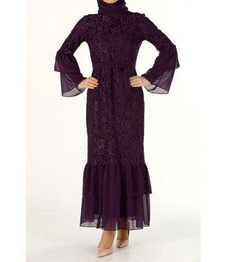 ALLDAY Kanten jurk - Paars