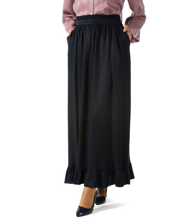 ALLDAY Long ruffle skirt - Dark blue