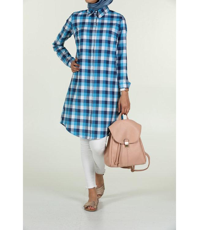 ALLDAY Plaid blouse - Ecru / Turkoois