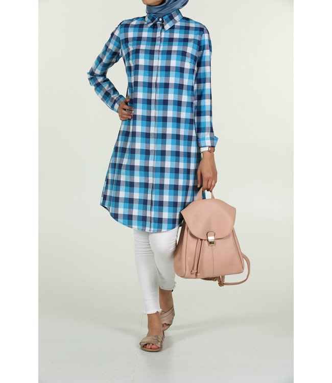 ALLDAY Plaid blouse - Ecru / Turquoise
