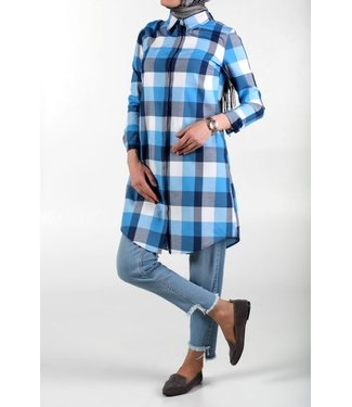 ALLDAY Plaid blouse - navy blue / light blue