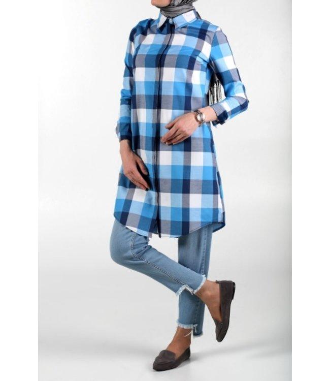 ALLDAY Plaid blouse - navy blue / light blue