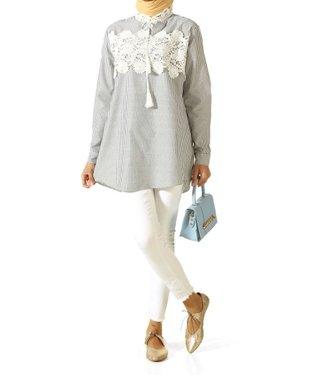 ALLDAY Gestreepte blouse - Zwart