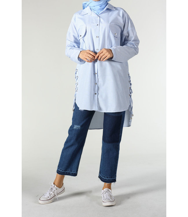 ALLDAY Gestreepte blouse - Licht blauw