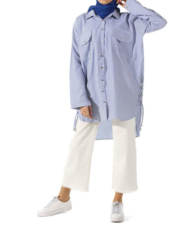 Gestreepte blouse - Donker blauw