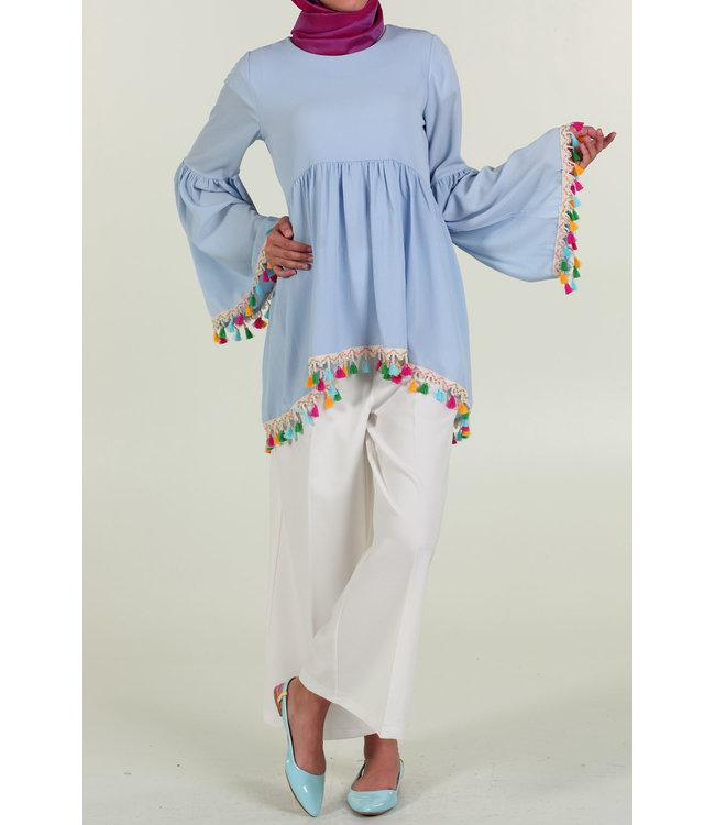 Tassel blouse - Baby blue