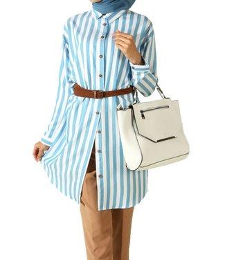 Striped long blouse - Blue