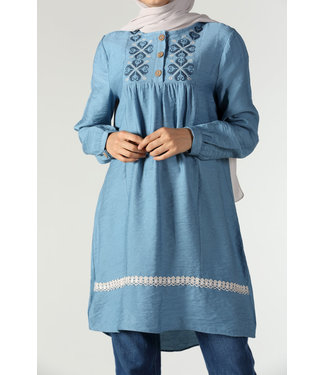 Tunic with broderies - Sky blue