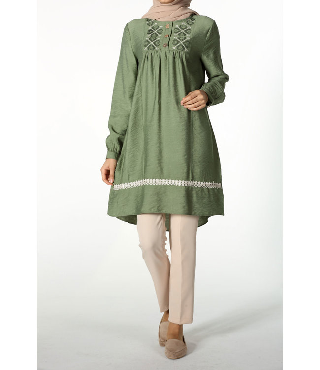 Tunic with broderies - Dark sea green
