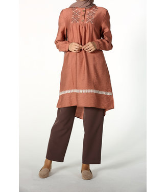 Tunic with broderies - Old pink