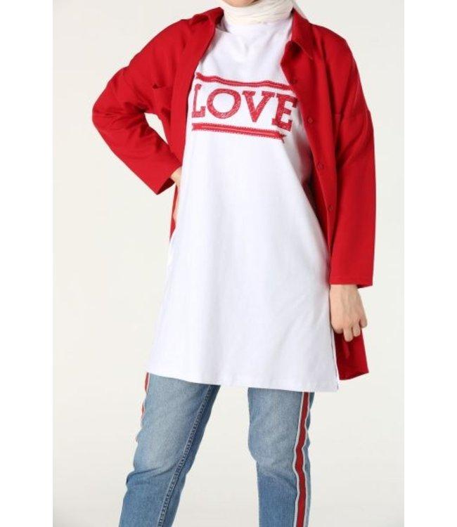 T-shirt - White / red