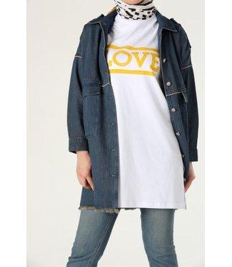 T-shirt - Wit/geel