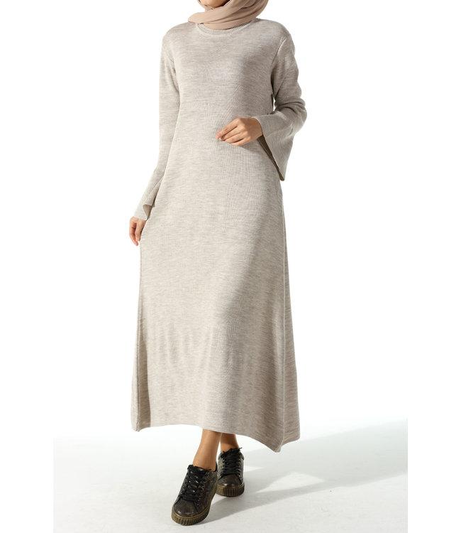 Gebreide jurk met volants - Licht grijs