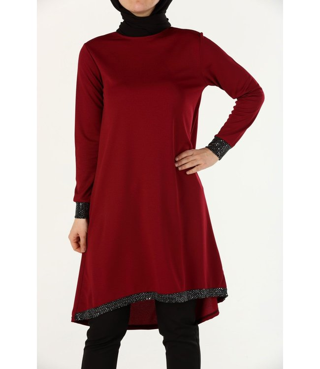 Glanzende pailletten tuniek - Bordo