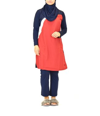 5-piece burkini set - Red / Blue