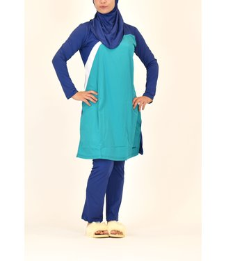 5-piece burkini set - Green / Blue