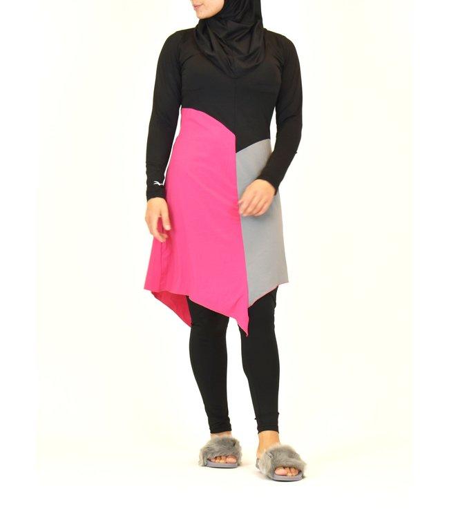 4-delig burkini set - Roze/Zwart