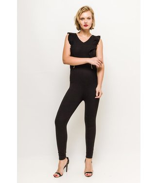Ruffled stretch jumpsuit - Zwart