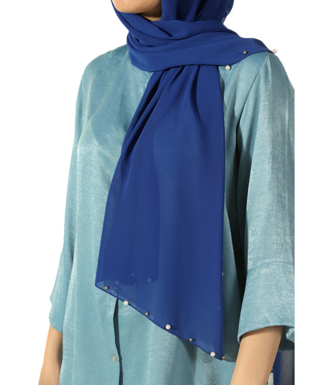 Chiffon scarf with pearls - Blue