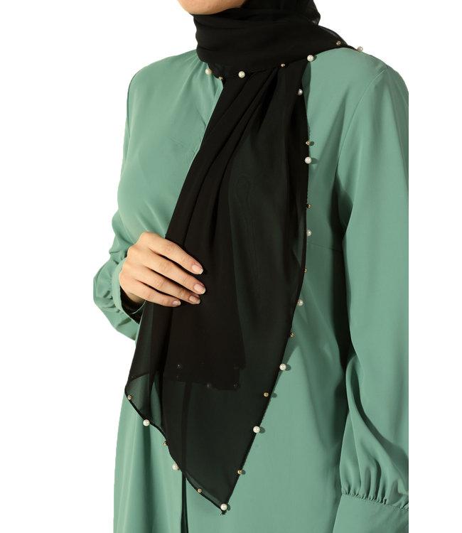 Chiffon scarf with pearls - Black