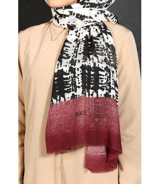 Akel Cotton scarf - Bordo/Cream