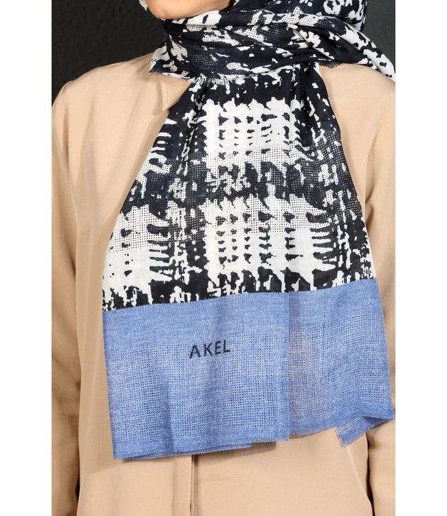 Akel Cotton scarf - Blue / Dark blue