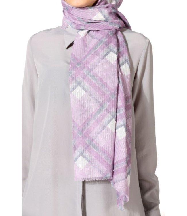 Plumetis katoenen sjaal - Grijs/Lila