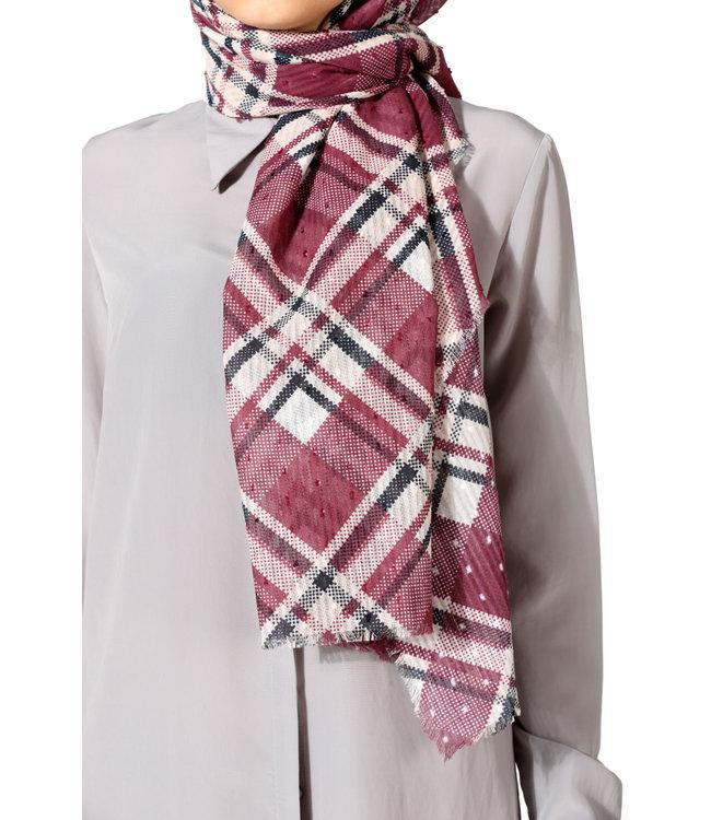 Plumetis katoenen sjaal - Bordo/Beige