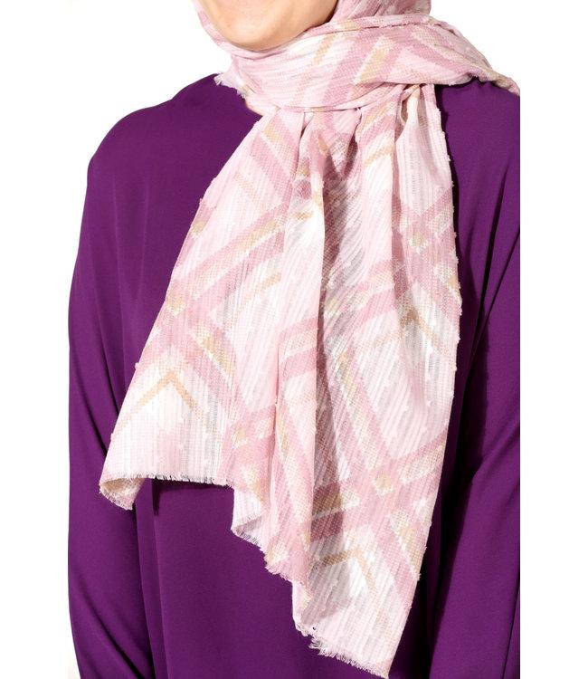 Plumetis cotton scarf - Powder / Beige