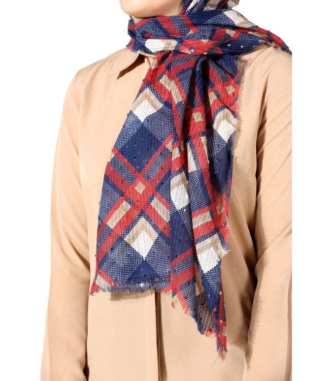 Plumetis cotton scarf - Dark blue / Bordo
