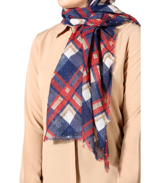 Plumetis katoenen sjaal - Donkerblauw/Bordo