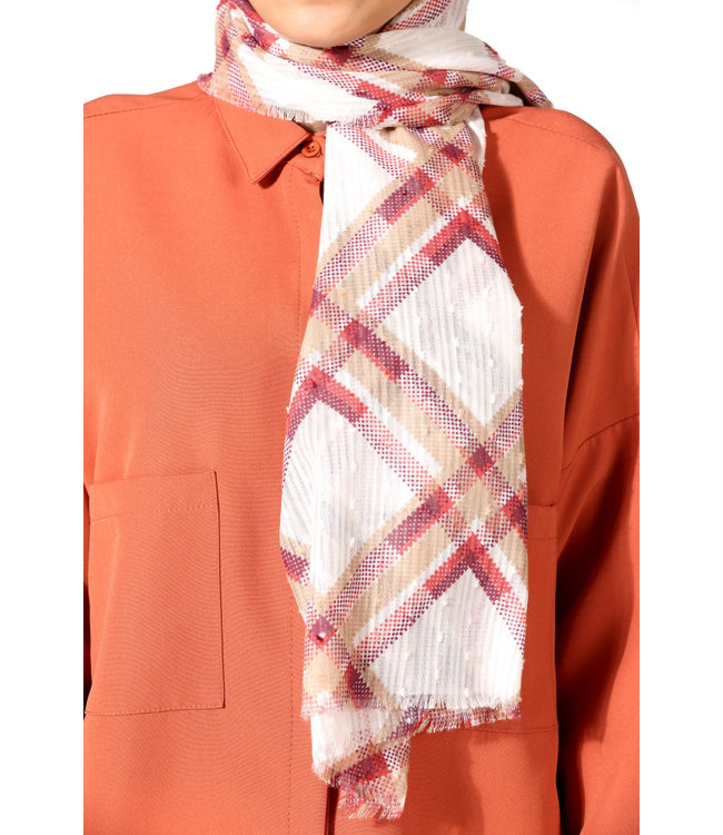 Plumetis cotton scarf - Red / Cream