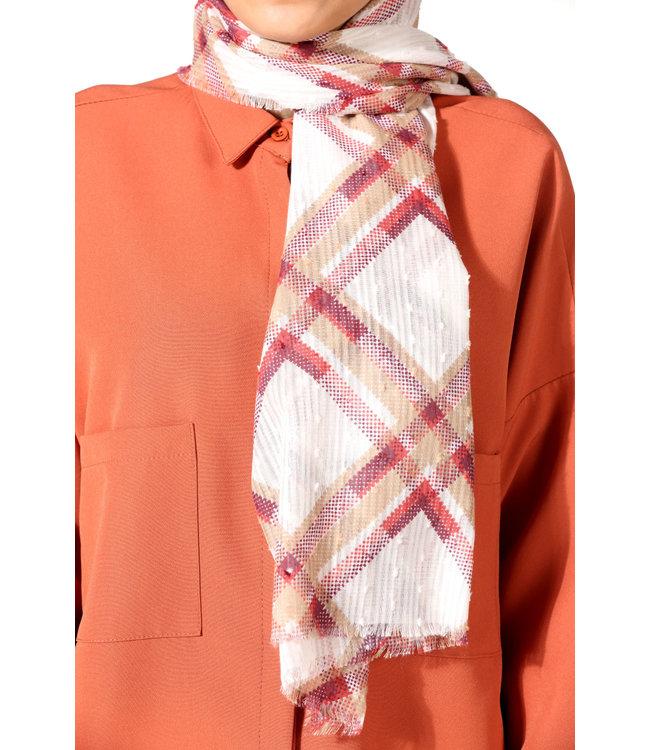 Plumetis katoenen sjaal - Rood/Créme