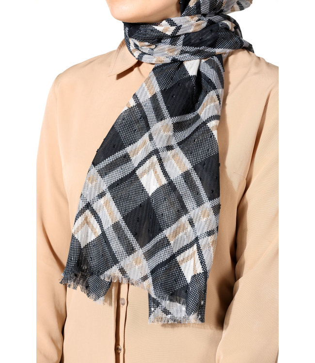 Plumetis katoenen sjaal - Zwart/Grijs