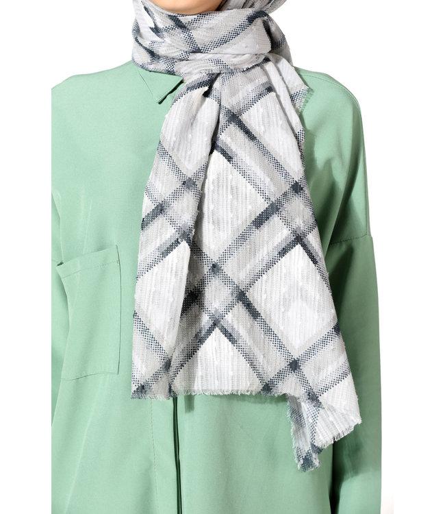 Plumetis cotton scarf - Black / Light gray
