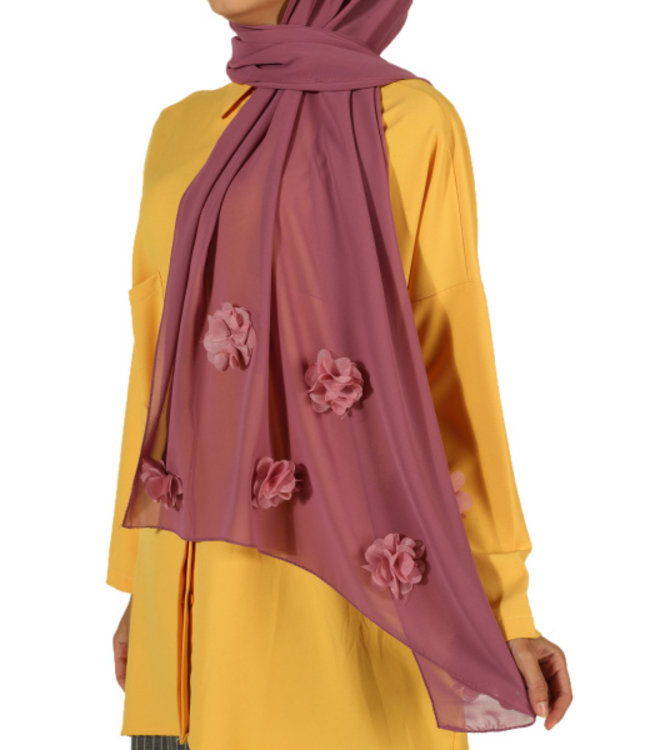 Chiffon scarf with roses - Plum