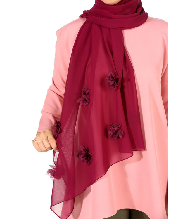 Chiffon scarf with roses - Begonia