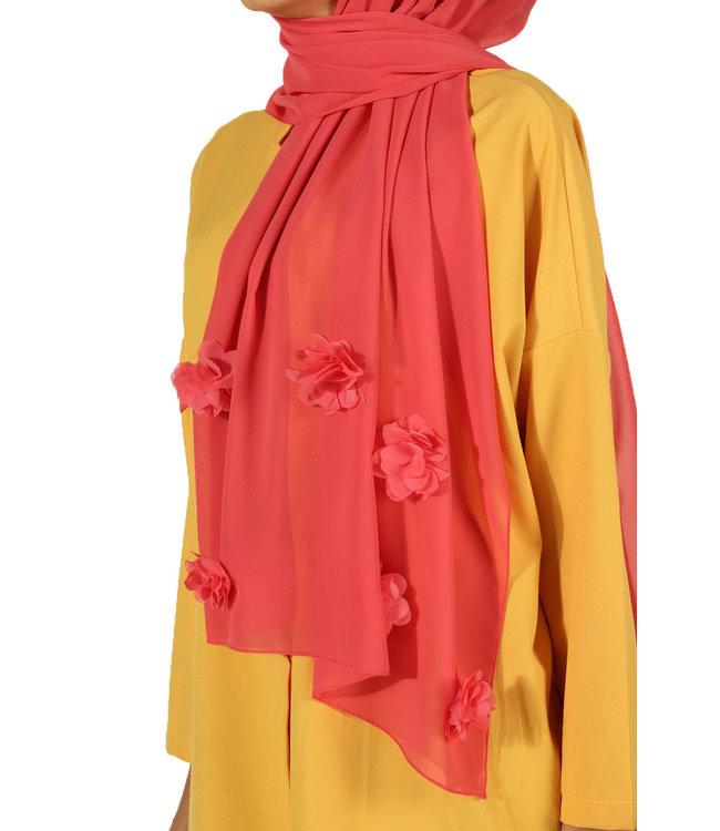 Chiffon sjaal met roosjes - Lichtkoraal